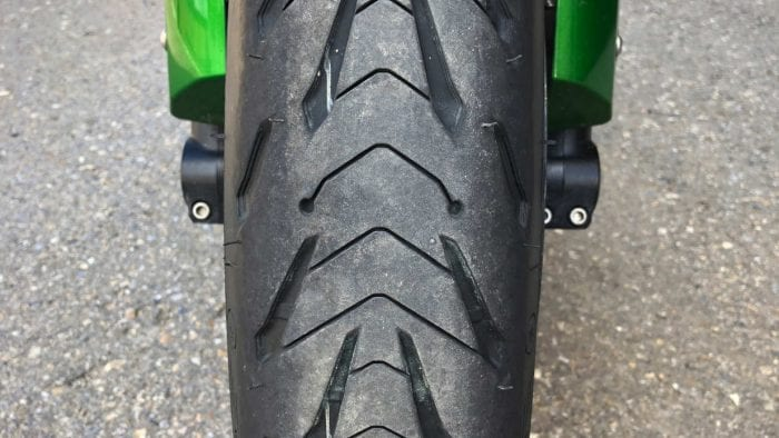 New Michelin Road 5 installed on the front of a Ninja H2SX SE.