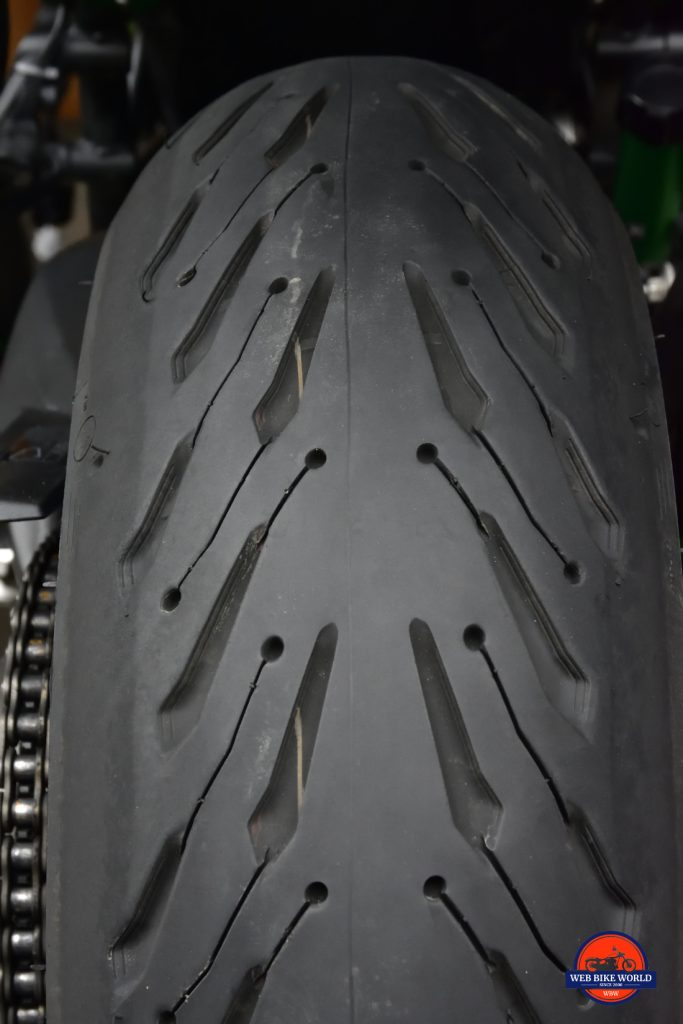 A close up photo above of the rear Michelin Road 5 tire after nearly 3000 miles.
