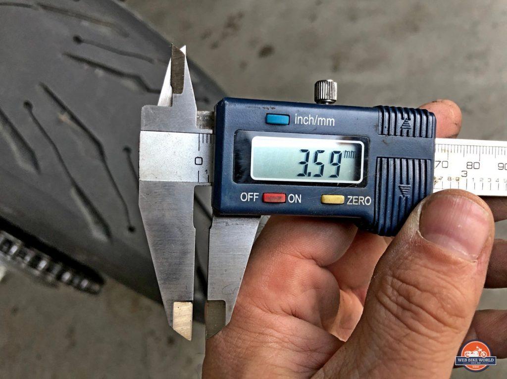 Measuring the Michelin Road 5 rear tire.