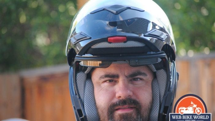 ZOX Brigade SVS Solid Helmet Visor up as shown while worn