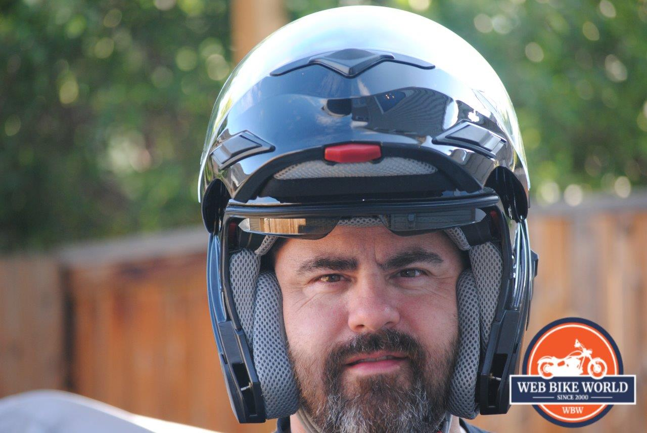 83199100 ZOX Brigade SVS Solid Helmet Visor up as shown while worn