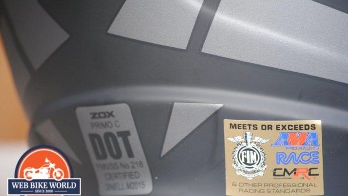 ZOX Primo C Track Helmet Back View Closeup