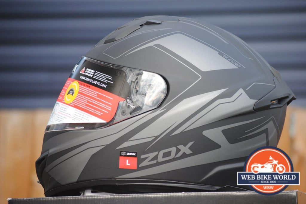 ZOX Primo C Track Helmet Side View with Visor Down