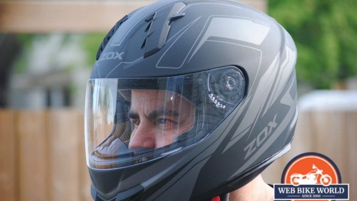 ZOX Primo C Track Helmet Fitted View on Model