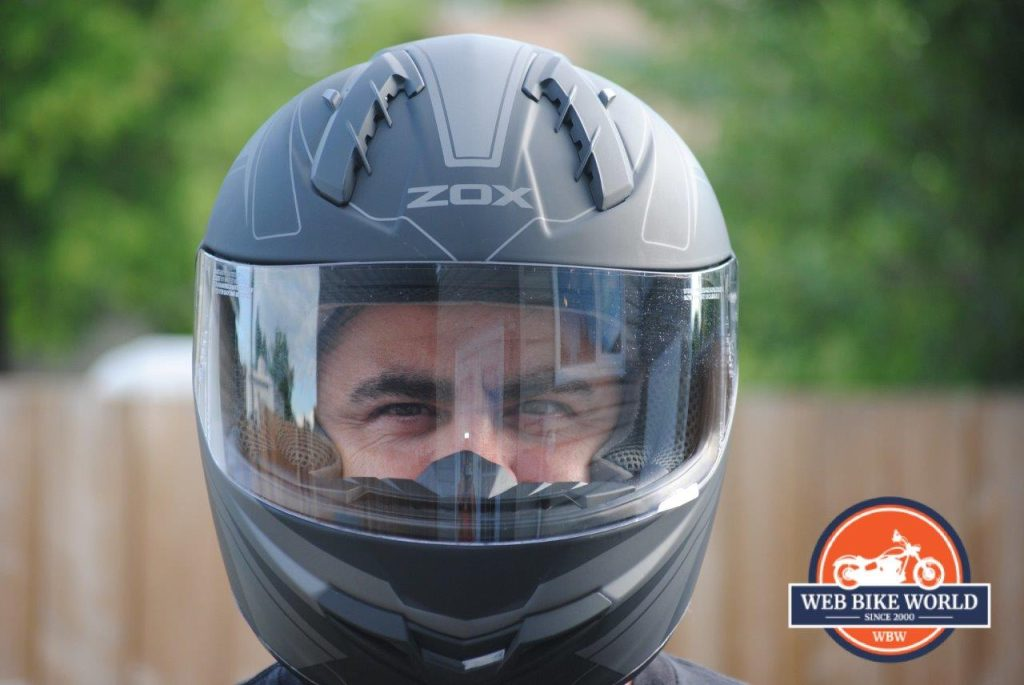 ZOX Primo C Track Helmet Fitted View from Front on Model