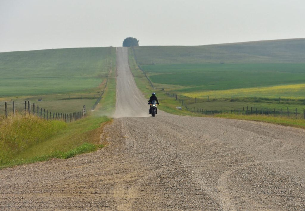 Me riding my 2016 Honda CB500X on a gravel road.
