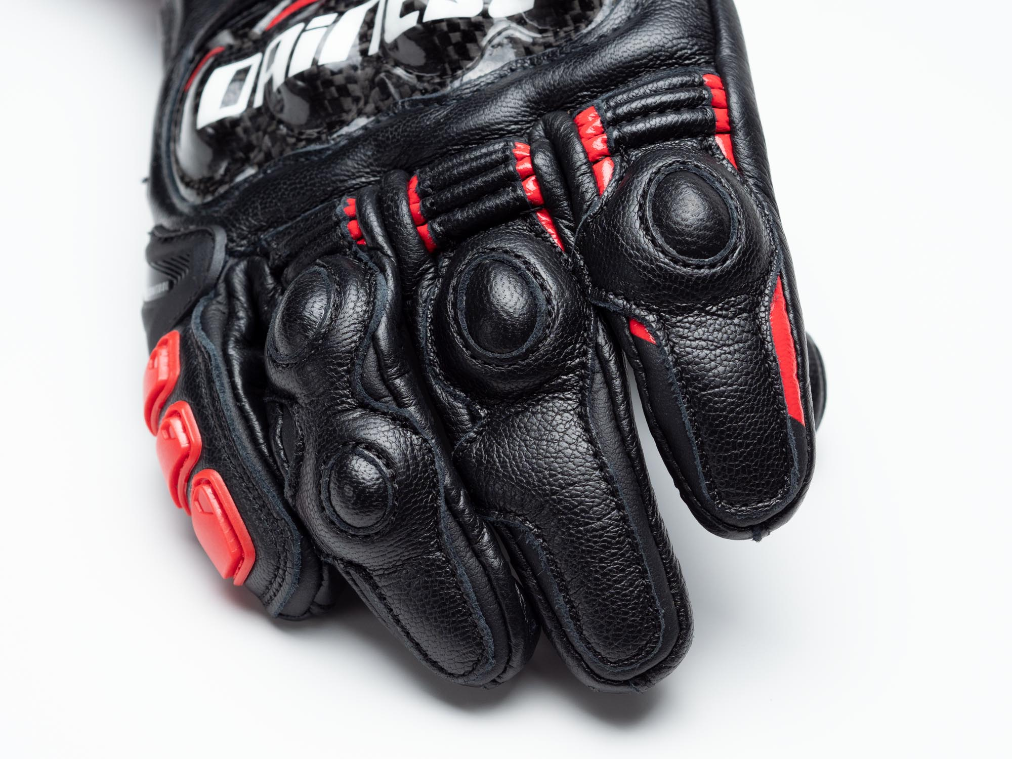 Dainese D1 Druid Long Gloves closeup of finger knuckle material