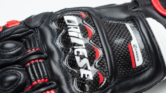 Dainese D1 Druid Long Gloves closeup of Dainese logo on back of hand