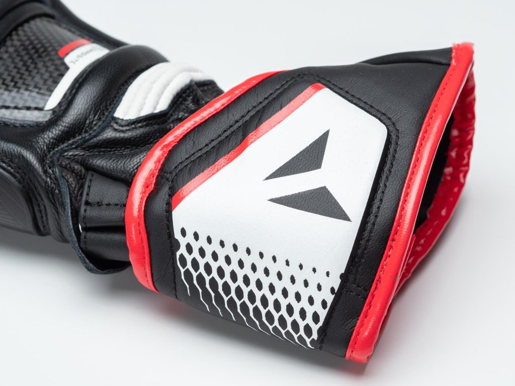 Dainese D1 Druid Long Gloves closeup of wrist cuff