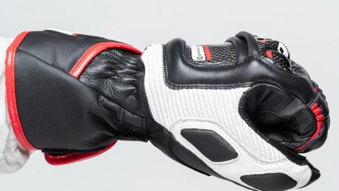 Dainese D1 Druid Long Gloves side view closed fist fit