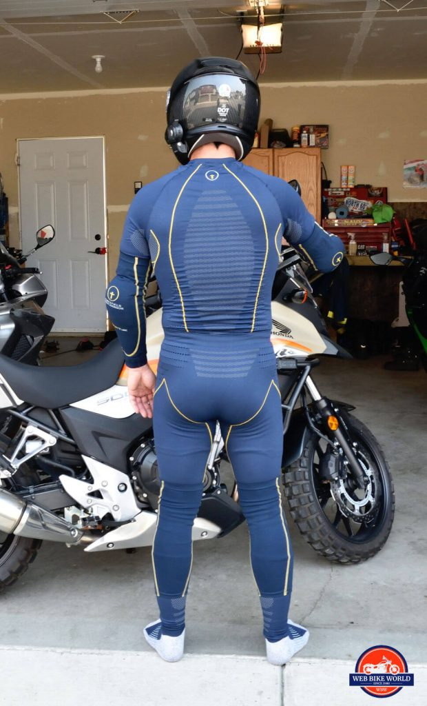 Rear view of me wearing the Forcefield Armour Tech 2 Base Layer top and bottom and sport tubes.