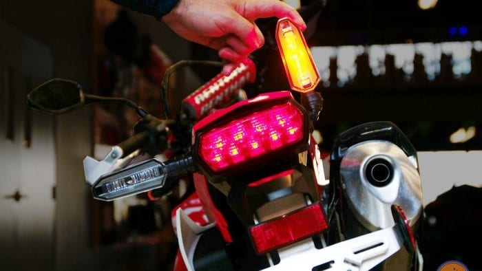 Flexible turn signal perch on a 2019 Honda CRF450L