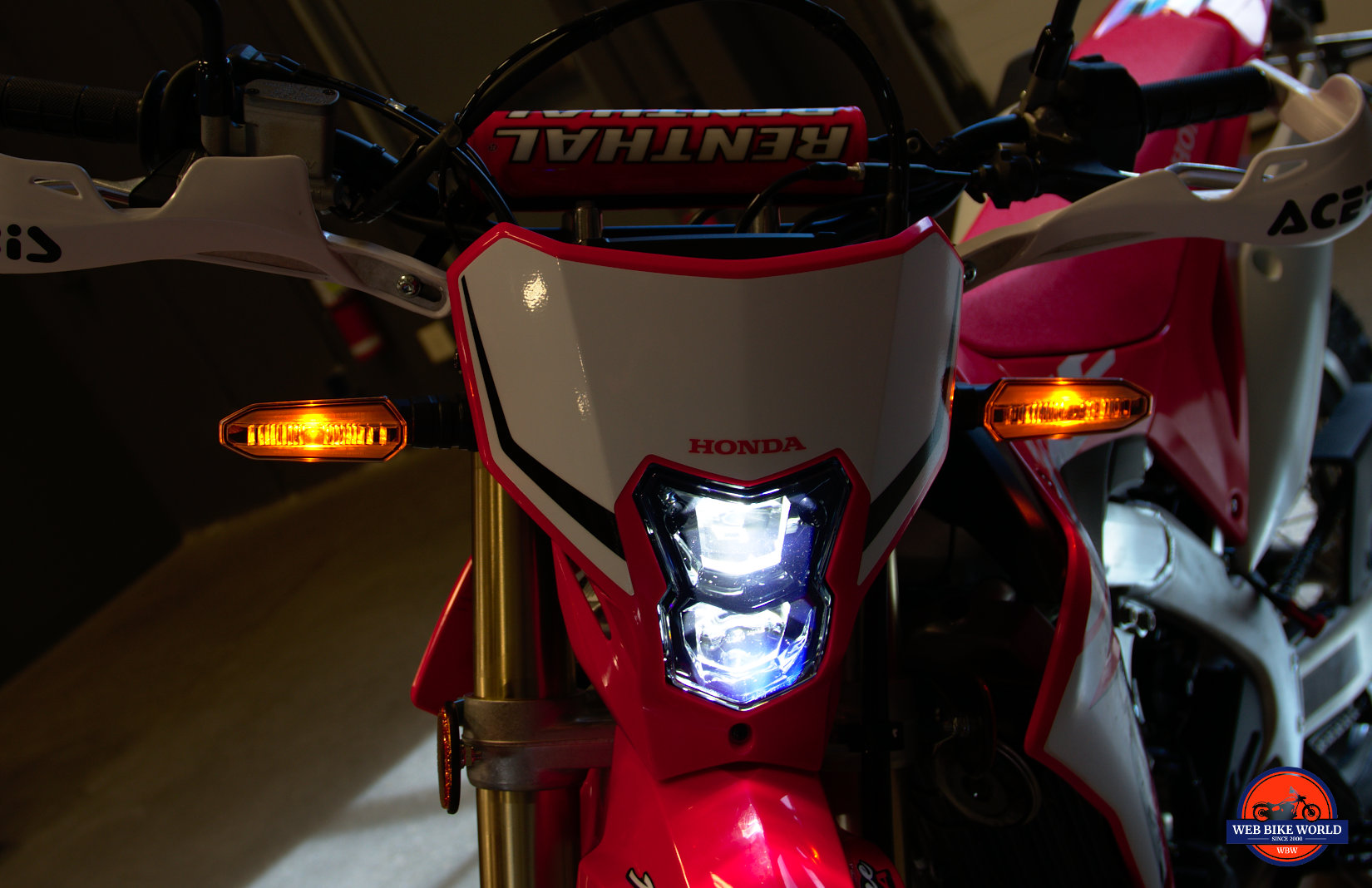 Front headlight on a 2019 Honda CRF450L