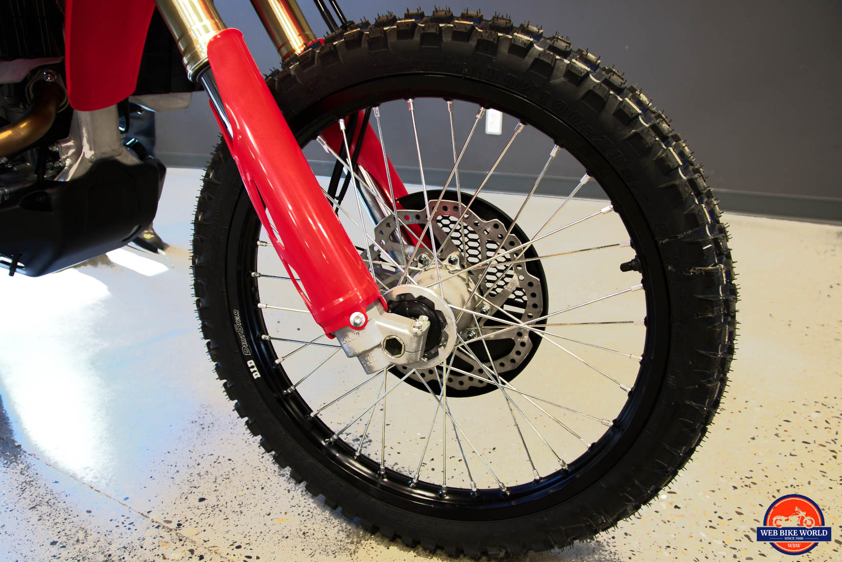 Front wheel of a 2019 Honda CRF450L