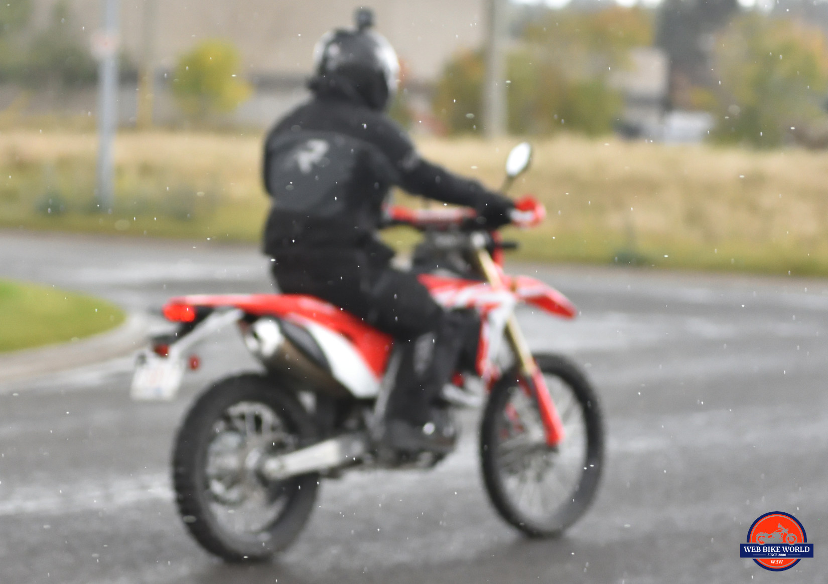 Riding in the rain on a 2019 Honda CRF450L