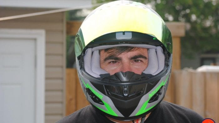 NENKI NK856 Helmet on model with Visor up