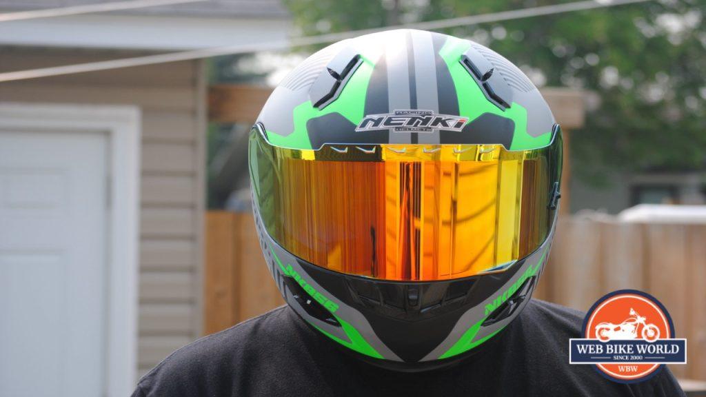 NENKI NK856 Helmet frontal view on model