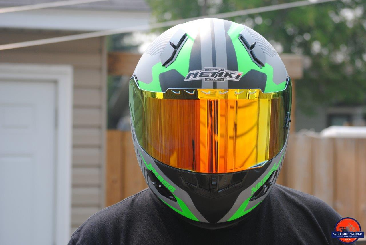NENKI NK856 Helmet frontal view on model
