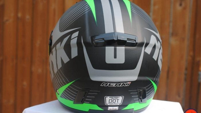 NENKI NK856 Helmet rear view of vents and logos