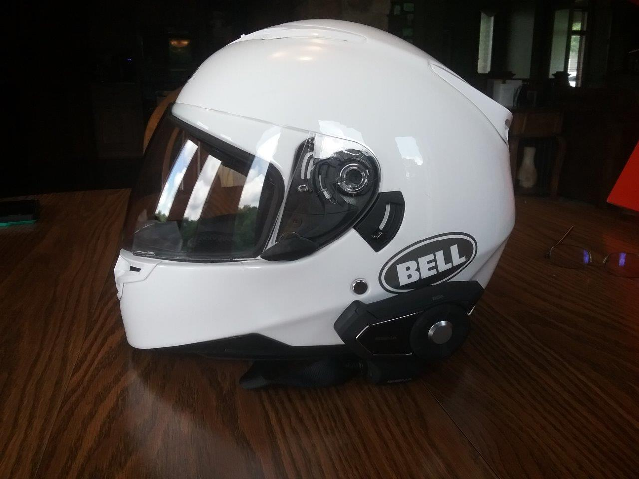 White Bell RS-2 Helmet side view with SENA 30k Device attached