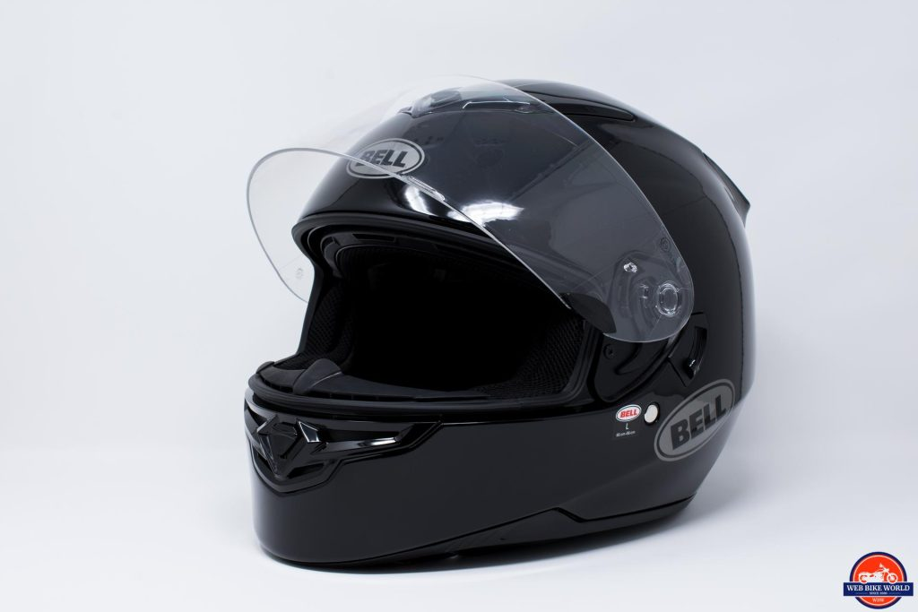 Bell RS-2 Helmet off-side view of chin with visor up