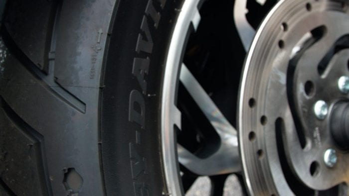 Rear tire on a 2018 Harley Davidson Sport Glide.