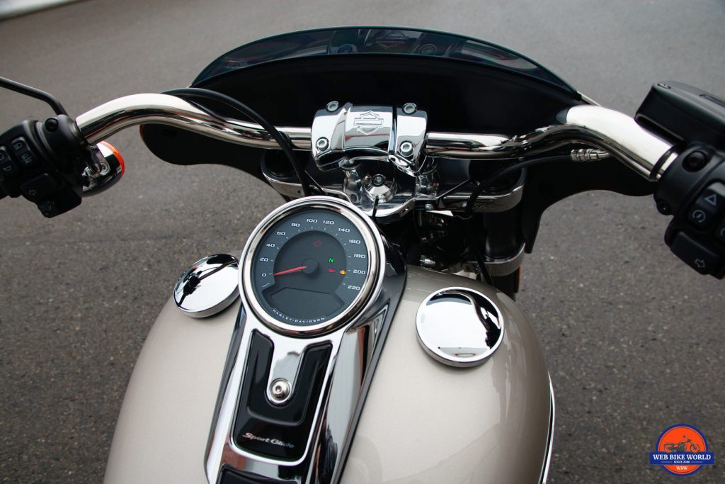 2018 Sport Glide gauges and gas tank.