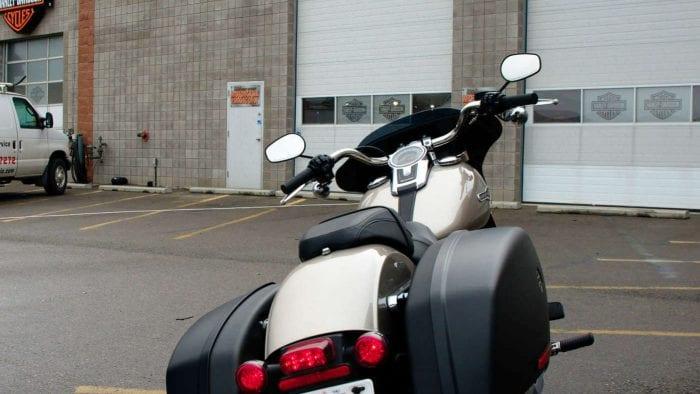 A Harley Sport Glide at Calgary Harley Davidson.