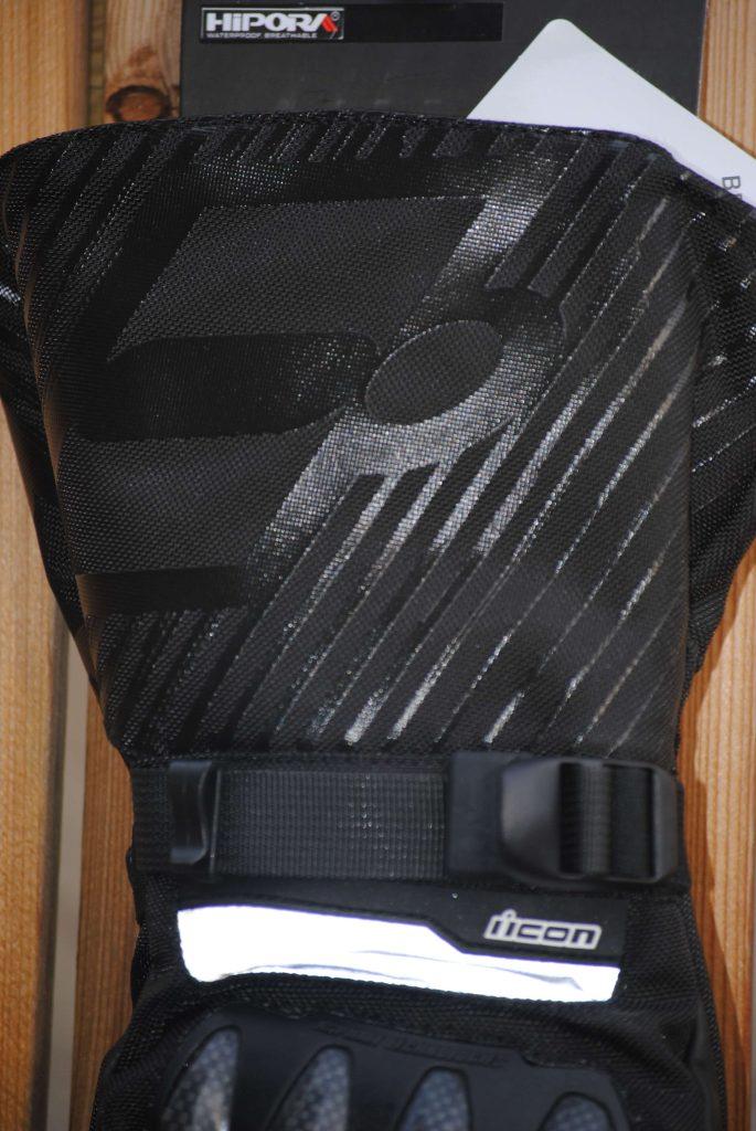 ICON Patrol Waterproof Gloves closeup of wrist and gauntlet design