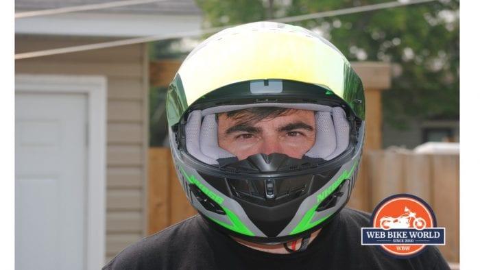 NENKI NK856 Helmet on model with Visor up