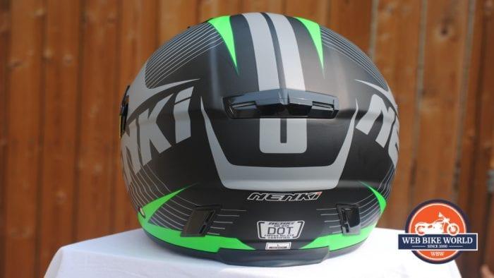 NENKI NK856 Helmet rear view of vents and logos