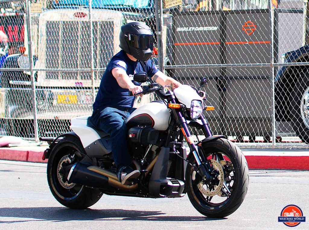Me riding a 2019 Harley Davidson FXDR wearing a Simpson Mod Bandit helmet.