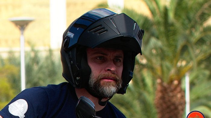 Me wearing a Simpson Mod Bandit helmet with the chin bar raised.