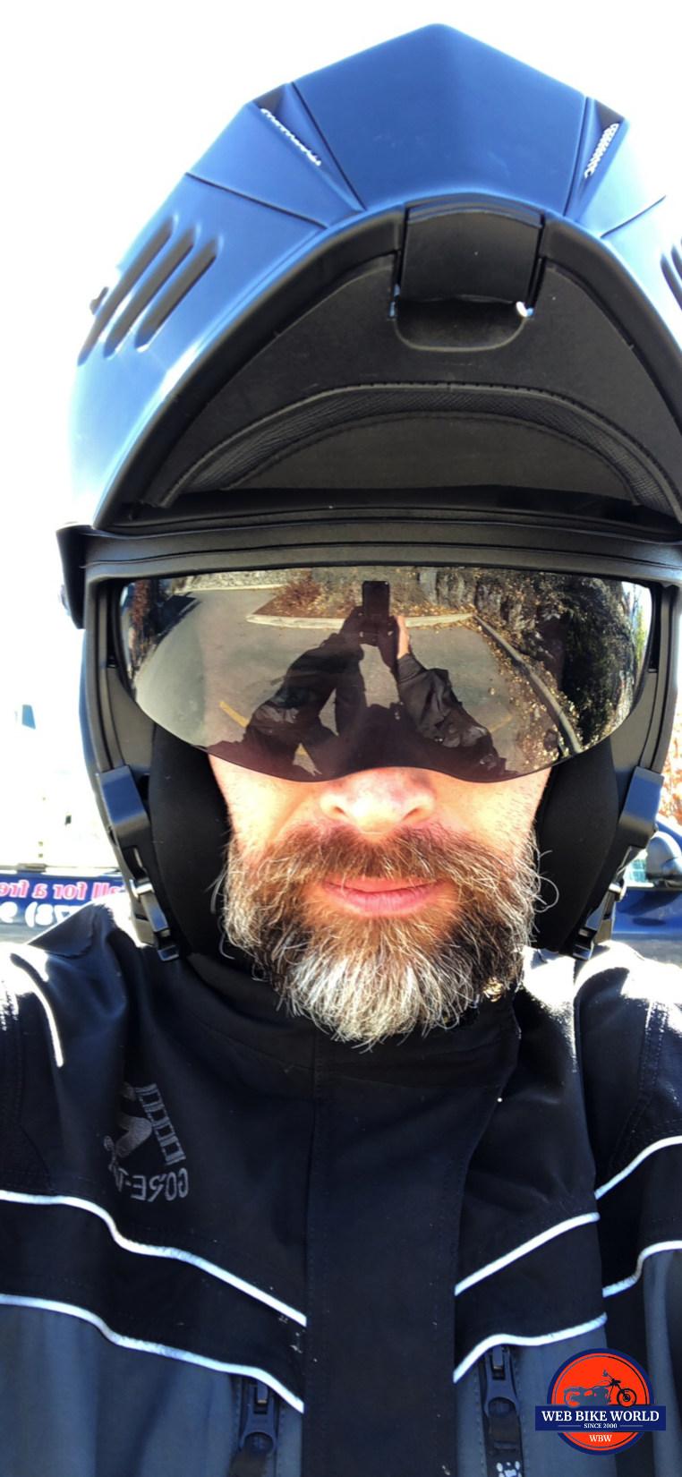 Me wearing the Simpson Mod Bandit helmet