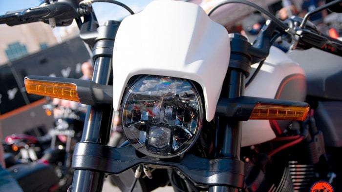 Headlight on the 2019 Harley Davidson FXDR.