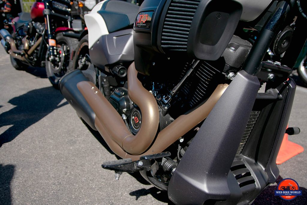 The engine of the 2019 Harley Davidson FXDR.