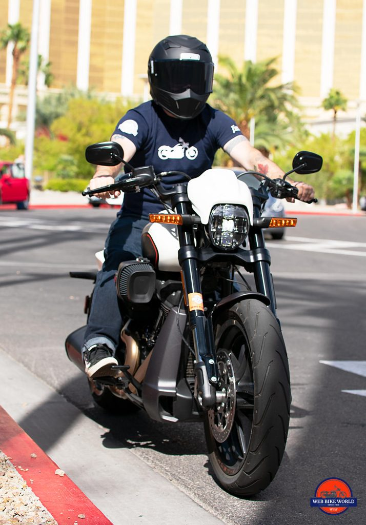Me riding the 2019 Harley Davidson FXDR.