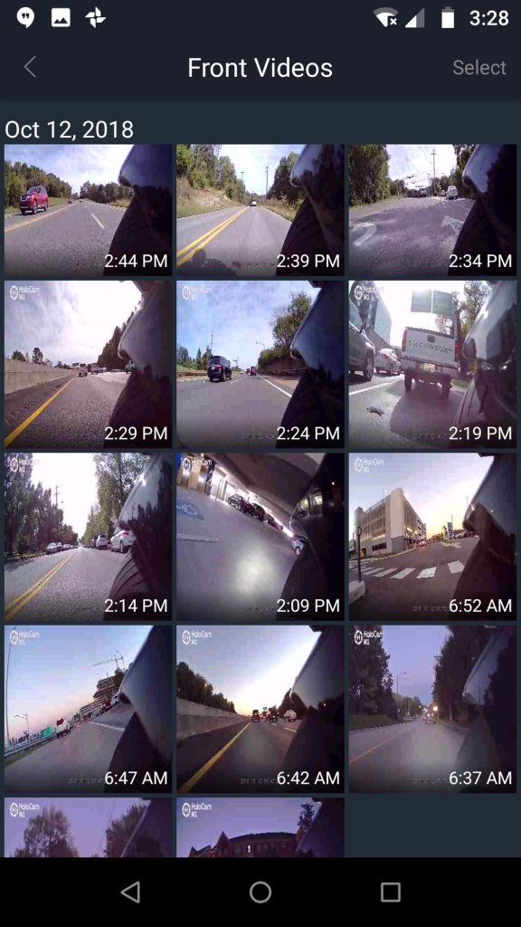 Halocam M1 Motorcycle Dashcam recordings