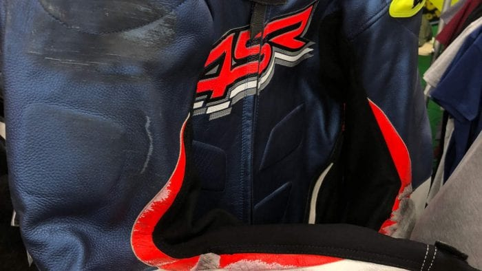 4SR leather racing suit.