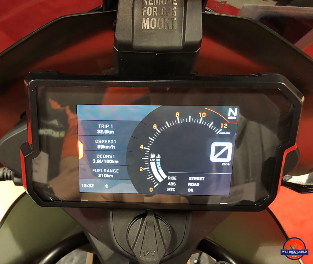 2019 KTM 790 Adventure R display.