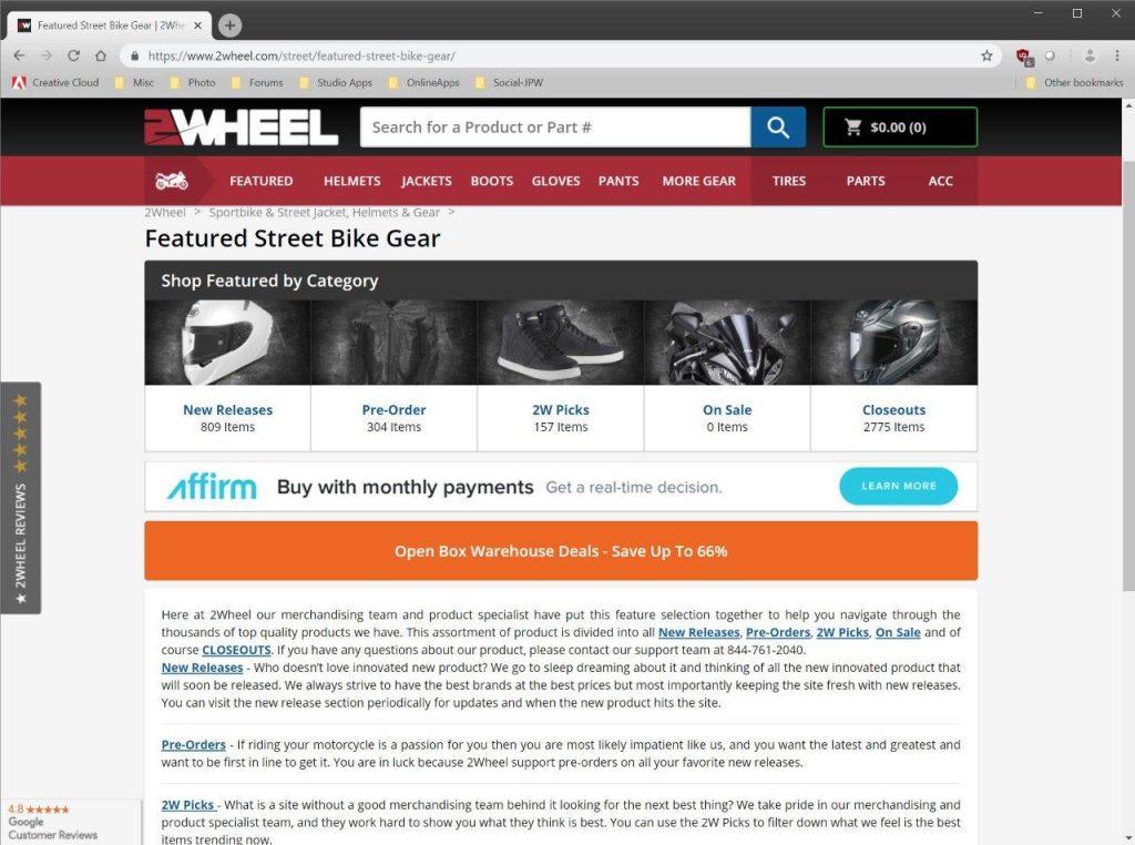 2Wheel.com product ranges