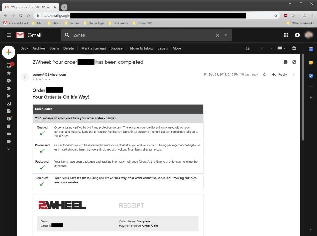 2Wheel.com order confirmation process