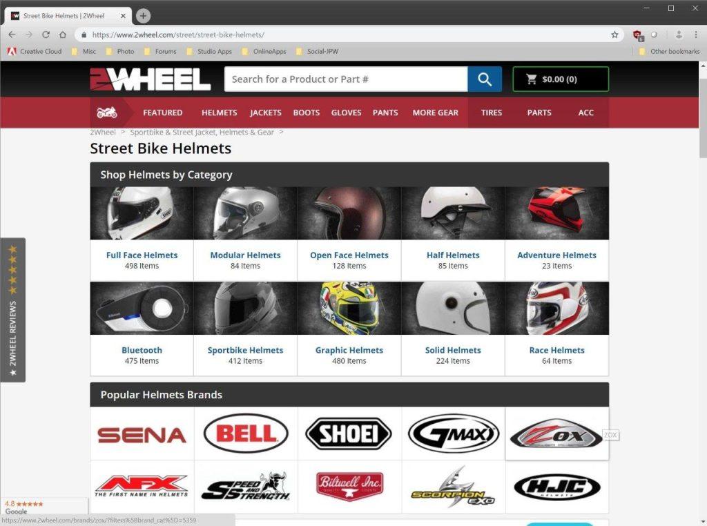 2Wheel.com street bike helmets