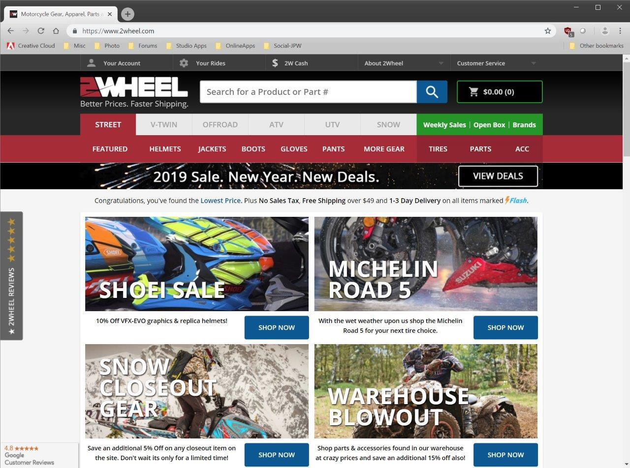 2Wheel.com eCommerce website for motorcycles, helmets, utv/atv, and snowmobiles