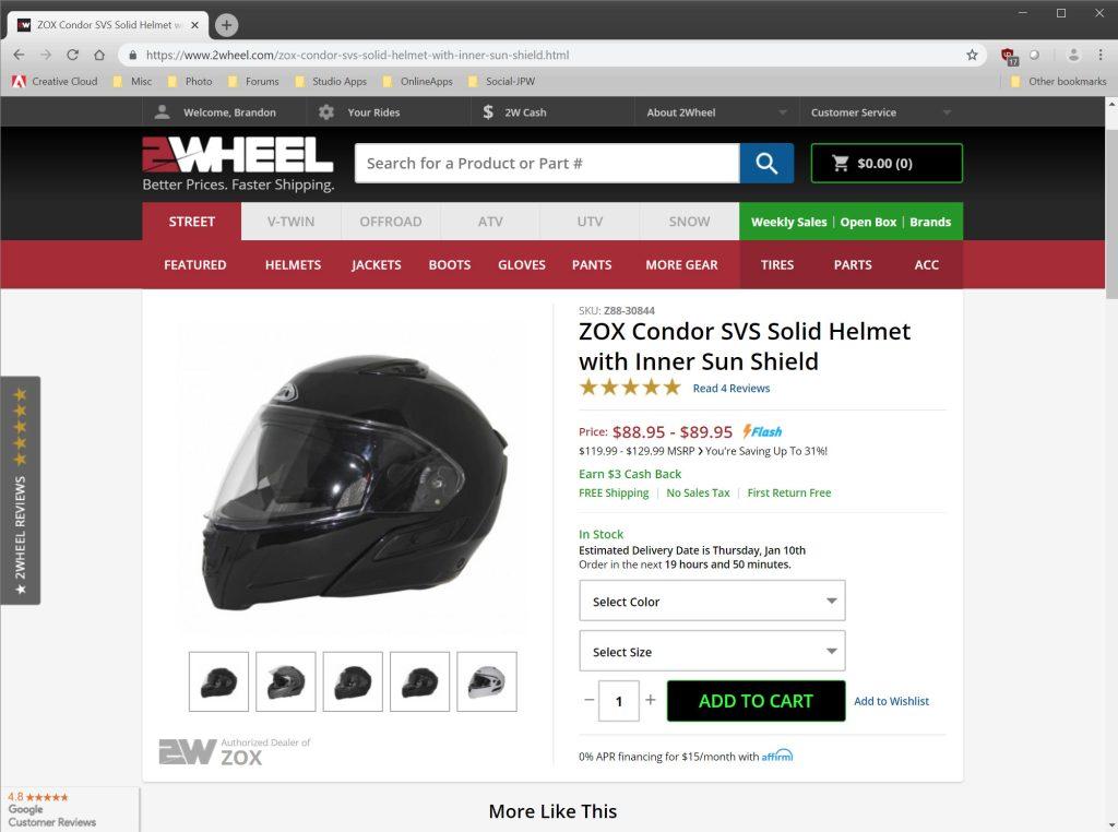 2Wheel.com ordering process