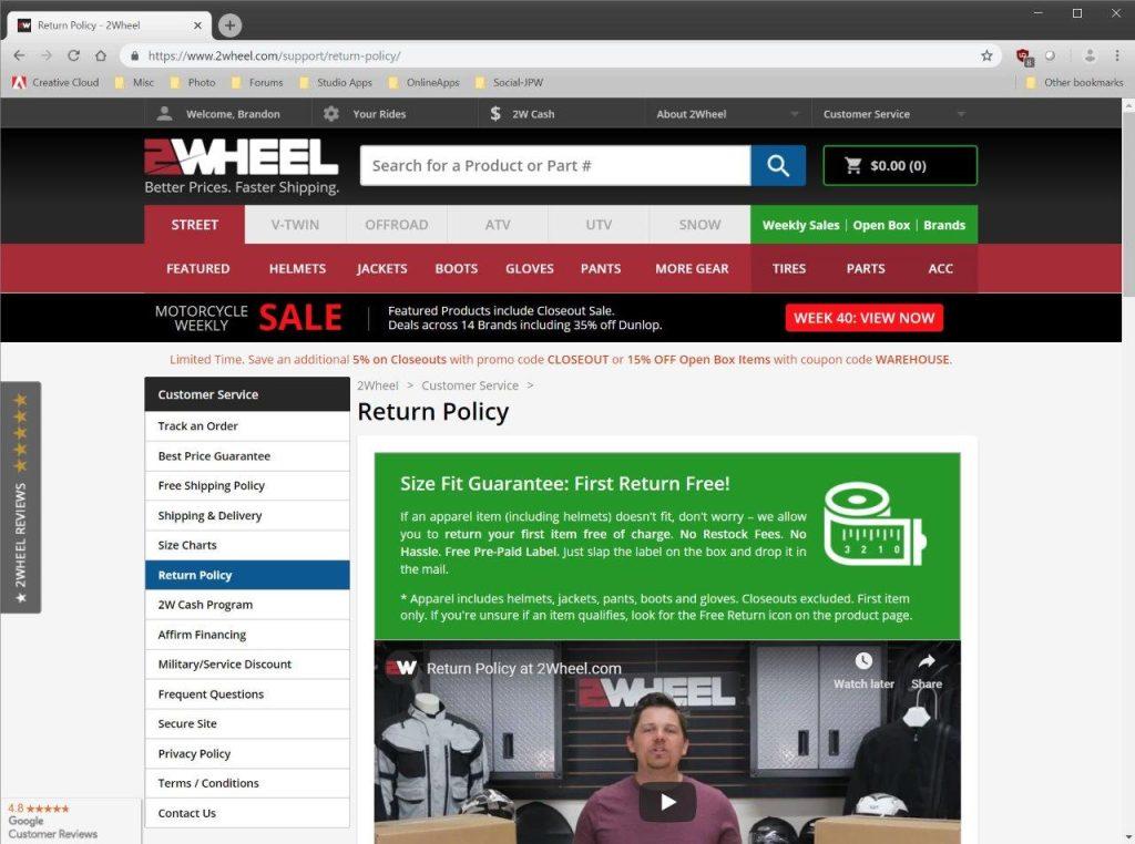 2Wheel.com return policy