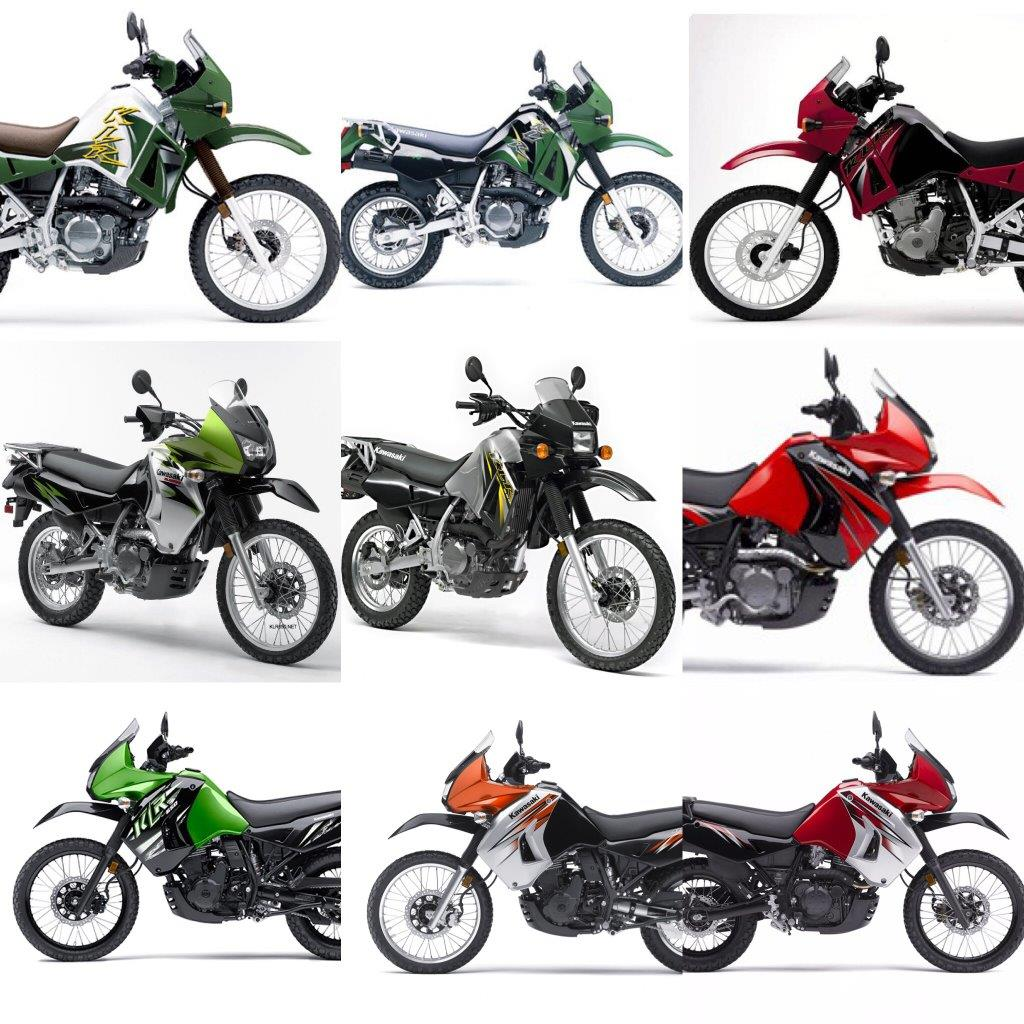 Various Kawasaki KLR650 models during production
