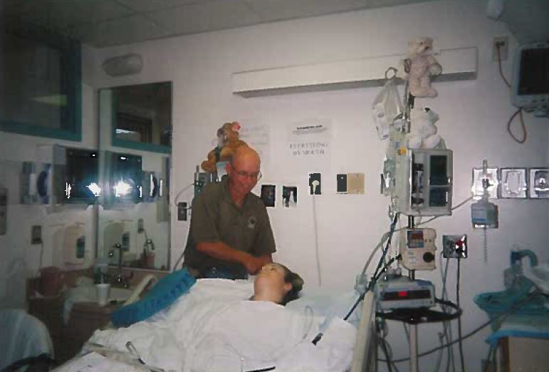 Brittany with dad in hospital