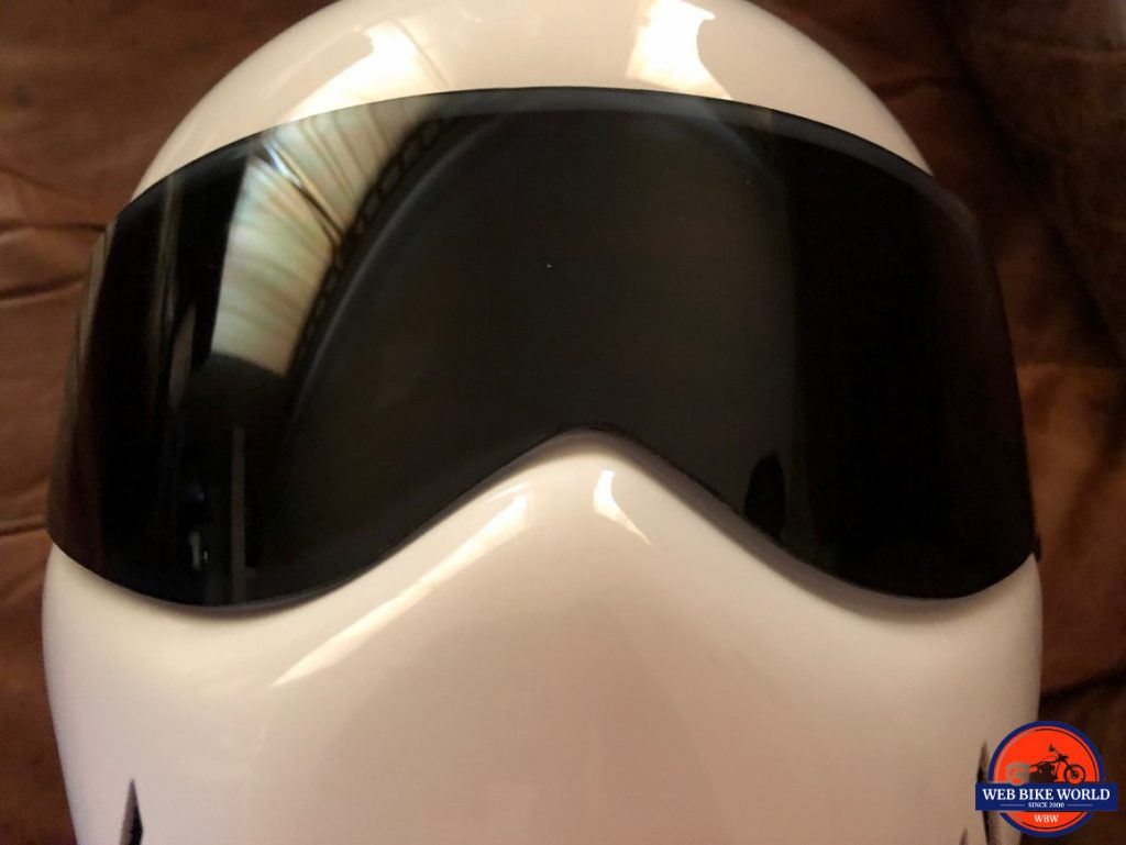 MATRIX ALPHA STREETFIGHTER FRONT VIEW OF MISS ALIGNED VISOR OFFSET TO THE RIGHT