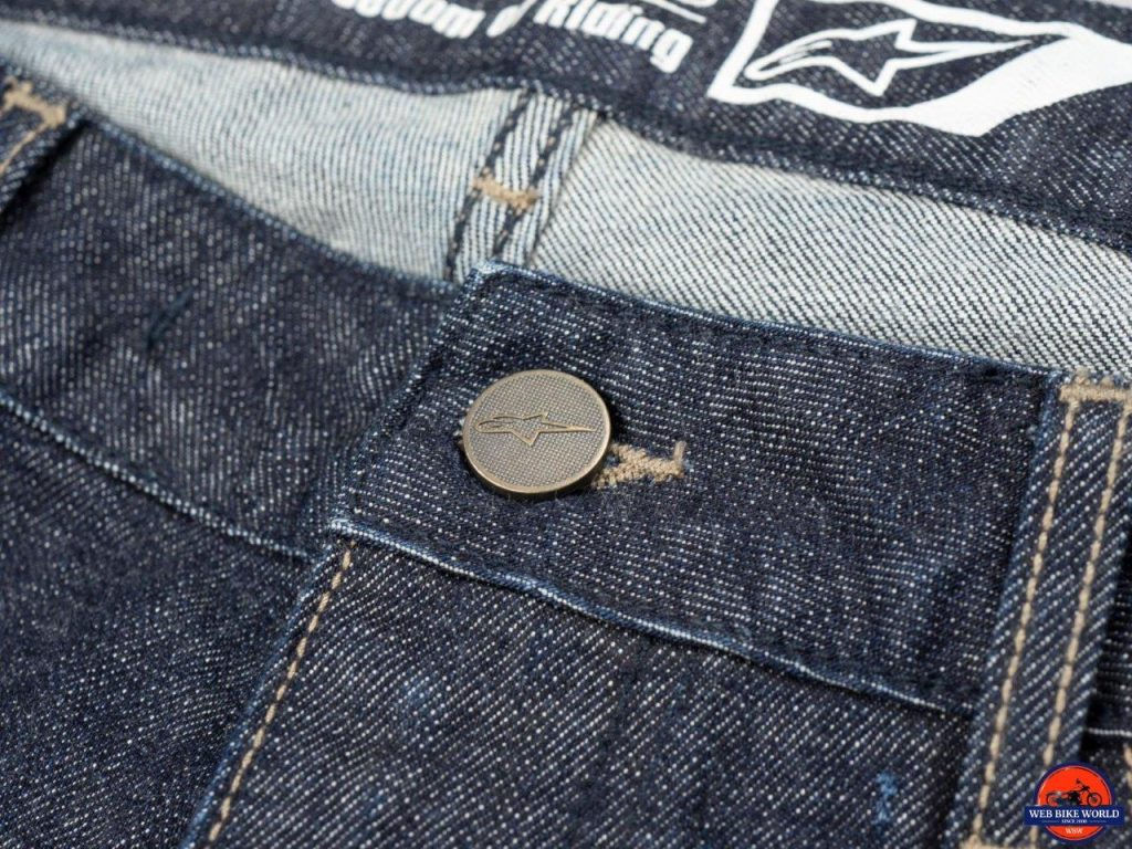 Alpinestars Copper Out Denim Pants custom fastener button